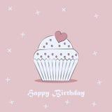 Birthday card. Cake. Cake on a postcard. Flat style. Vector illustration Stock Illustration