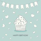 Birthday card. Cake. Cake on a postcard. Flat style. Vector illustration Royalty Free Stock Images