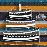 Birthday card with cake on stripes colorful Royalty Free Stock Photo