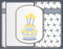 Birthday card with cake and three candles Stock Image
