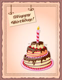 Birthday card with cake tier, candle, cherry and text Royalty Free Stock Photography