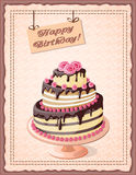 Birthday card with cake tier  and roses. Festive colorful  birthday card on the craft paper with  cake tier, roses on the vintage background. eps10 Stock Photo