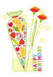 Birthday Card with Candies and Flowers Stock Photo