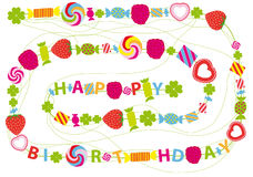 Birthday Card with Candies and Shamrocks Royalty Free Stock Image