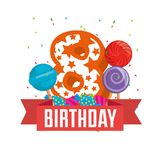 Birthday card with candle number eight. Vector illustration design Stock Photography