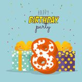 Birthday card with candle number eight. Vector illustration design Stock Images