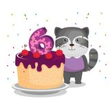 Birthday card with candle number six. Vector illustration design Royalty Free Stock Image