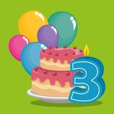 Birthday card with candle number three. Vector illustration design Royalty Free Stock Photo