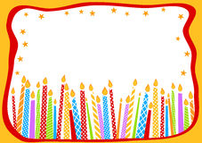 Birthday Card With Candles. Happy birthday greeting card with candles and stars border frame Royalty Free Stock Images