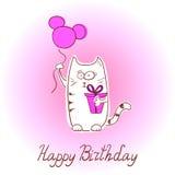 Birthday card with cartoon cat. Royalty Free Stock Image