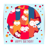 Birthday card with cartoon cats Stock Photography