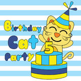 Birthday card  cartoon with cute cat and birthday cake on striped background suitable for kid postcard design Royalty Free Stock Images