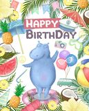 Birthday card with cartoon funny hippopotamus colorful illustration. watercolor animal for greeting, invite, celebration zoo,. Birthday card with cartoon funny royalty free stock photo