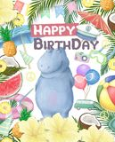 Birthday card with cartoon funny hippopotamus colorful illustration. watercolor animal for greeting, invite, celebration zoo,. Birthday card with cartoon funny royalty free stock images