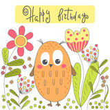 Birthday card with cartoon owl and flowers. Stock Images
