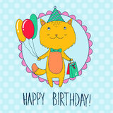 Birthday card with cat with presents and balloons Stock Images