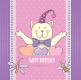 Birthday card with cat Royalty Free Stock Images