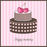Birthday card with cherry cake Stock Photo