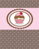 Birthday card with cherry cupcake. Good for any ge Royalty Free Stock Image