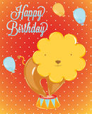 Birthday card circus lion. Birthday card in the style of a circus lion in vintage Stock Photo