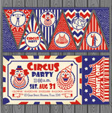 Birthday card with Circus Ticket. Circus Ticket on tree background. Vector illustration Royalty Free Stock Photo