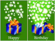 Birthday card with closed and opened gift Royalty Free Stock Photography
