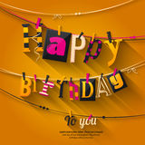 Birthday card. Clothespin and colorful letters hang on rope. Vector. Birthday card. Clothespin and colorful letters hang on rope Stock Photos