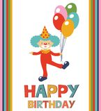 Birthday card with clown Royalty Free Stock Photo