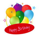 Birthday card with color balloons -stock. With place for your options Royalty Free Stock Images