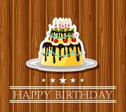 Birthday card with colored cake Royalty Free Stock Photo