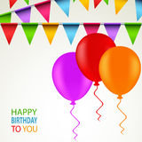 Birthday card with colored ribbons and balloons Royalty Free Stock Image