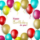 Birthday card with colorful balloons in background template Royalty Free Stock Photos
