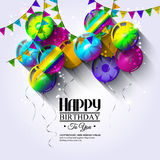 Birthday card with colorful balloons and bunting Royalty Free Stock Images