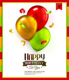 Birthday card with colorful balloons and confetti Stock Image