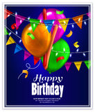 Birthday card with colorful balloons, confetti and Stock Photos