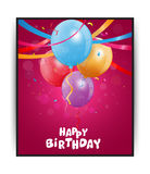 Birthday card with colorful balloons and confetti Royalty Free Stock Images