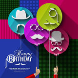 Birthday card. Colorful balloons in flat design Stock Images