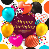 Birthday card with colorful balloons and golden glittering text. Ribbon with bow, confetti, stars, on dotted colorful Royalty Free Stock Images