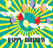 Birthday card with colorful balloons, sun, sky, Royalty Free Stock Photos