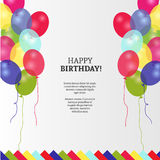 Birthday card with colorful balloons vector design royalty free stock image