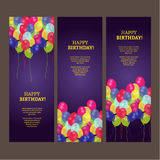 Birthday card with colorful balloons vector design stock photography