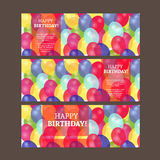 Birthday card with colorful balloons vector design royalty free stock images