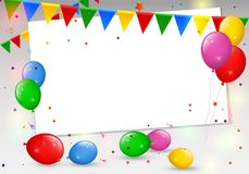 Birthday card with colorful balloons Stock Photo
