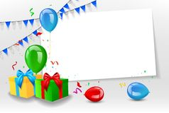 Birthday card with colorful balloons Royalty Free Stock Photo