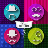 Birthday card. Colorful baloons in flat design Royalty Free Stock Photo