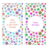 Birthday card with colorful cartoon stars Stock Images