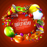 Birthday card with colorful curling ribbons Royalty Free Stock Photography