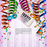 Birthday card with colorful curling ribbons Royalty Free Stock Image