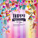 Birthday card with colorful curling ribbons Stock Photos