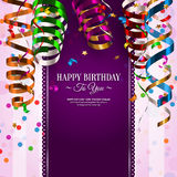 Birthday card with colorful curling ribbons Stock Images
